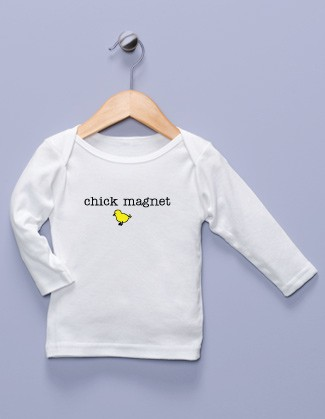 """Chick Magnet"" White Long Sleeve Shirt"