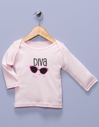 """Diva"" Pink Long Sleeve Shirt"