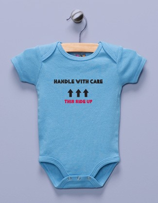 """Handle with Care"" Blue Infant Bodysuit"