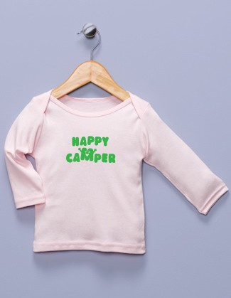 """Happy Camper"" Pink Long Sleeve Shirt"