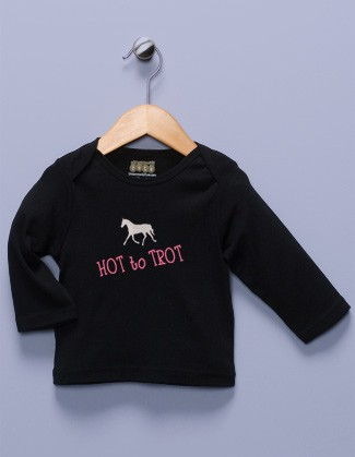 """Hot to Trot"" Black Long Sleeve Shirt"