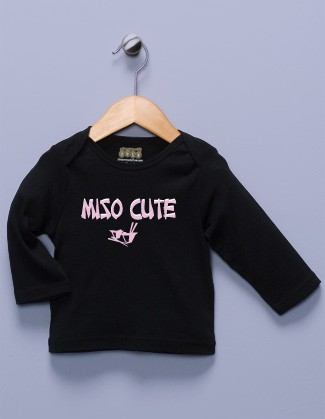 """Miso Cute"" Black Long Sleeve Shirt"
