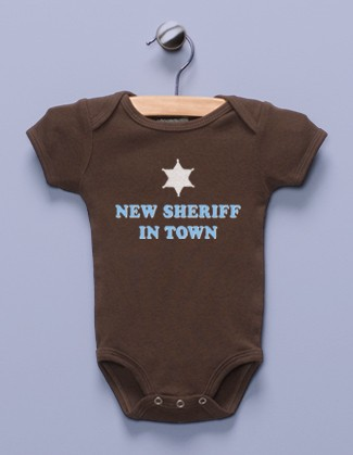 """New Sheriff in Town"" Brown Infant Bodysuit"