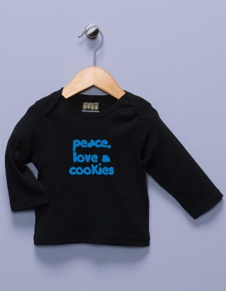 """Peace, Love & Cookies"" Black Long Sleeve Shirt"