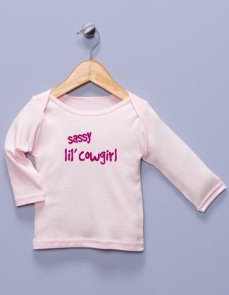 """Sassy lil' Cowgirl"" Pink Long Sleeve Shirt"