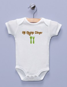 &quot;All Night Diner&quot; White Infant Bodysuit