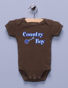 """Country Boy"" Brown Infant Bodysuit"