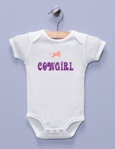 """Cowgirl"" White Infant Bodysuit"