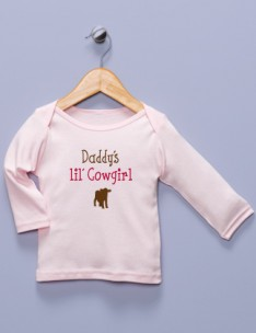 """Daddy's lil' Cowgirl"" Pink Long Sleeve Shirt"