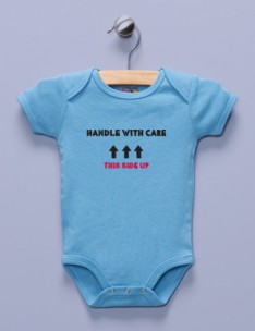 &quot;Handle with Care&quot; Blue Infant Bodysuit