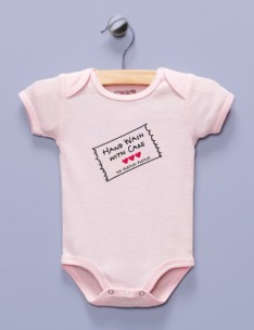 &quot;Hand Wash With Care&quot; Pink Infant Bodysuit