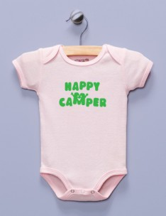 """Happy Camper"" Pink Infant Bodysuit"