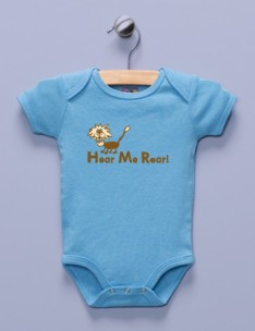 &quot;Hear Me Roar&quot; Blue Infant Bodysuit