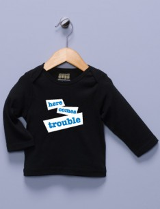 &quot;Here Comes Trouble&quot;  Black Long Sleeve Shirt