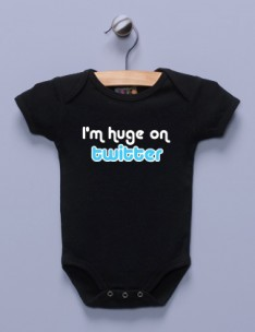 """I'm Huge on Twitter"" Black Infant Bodysuit"
