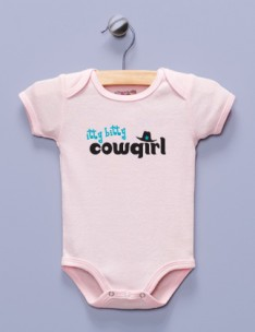 """Itty Bitty Cowgirl"" Pink Infant Bodysuit"