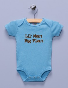"""Lil' Man, Big Plan"" Blue Infant Bodysuit"