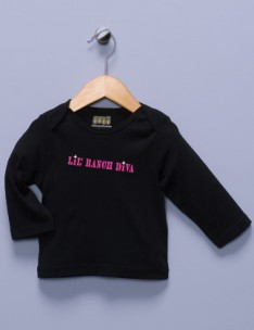 """Lil' Ranch Diva"" Black Long Sleeve Shirt"