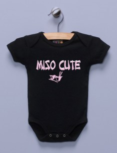 """Miso Cute"" Black Infant Bodysuit"