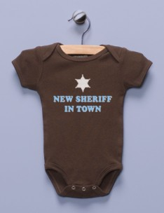 &quot;New Sheriff in Town&quot; Brown Infant Bodysuit