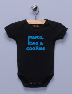 &quot;Peace, Love &amp; Cookies&quot; Black Infant Bodysuit