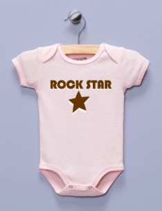 """Rock Star"" Pink Infant Bodysuit"