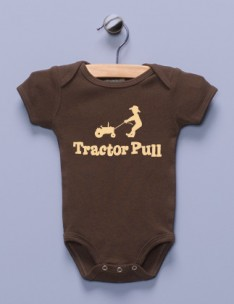 """Tractor Pull"" Brown Infant Bodysuit"