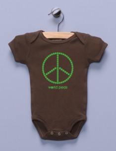 &quot;World Peas&quot; Brown Infant Bodysuit