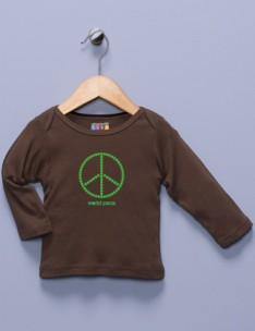 &quot;World Peas&quot; Brown Long Sleeve Shirt