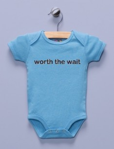 """Worth the Wait"" Blue Infant Bodysuit"